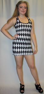 NEW-BLACK-amp-WHITE-HARLEQUIN-DIAMOND-PRINT-LONG-VEST-TANK-TOP-DRESS-GOTH-EMO-PUNK