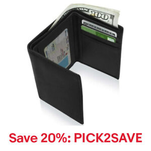 Real Leather Slim Wallets Men Trifold Mens Wallet W/ID Window,20% off: PICK2SAVE