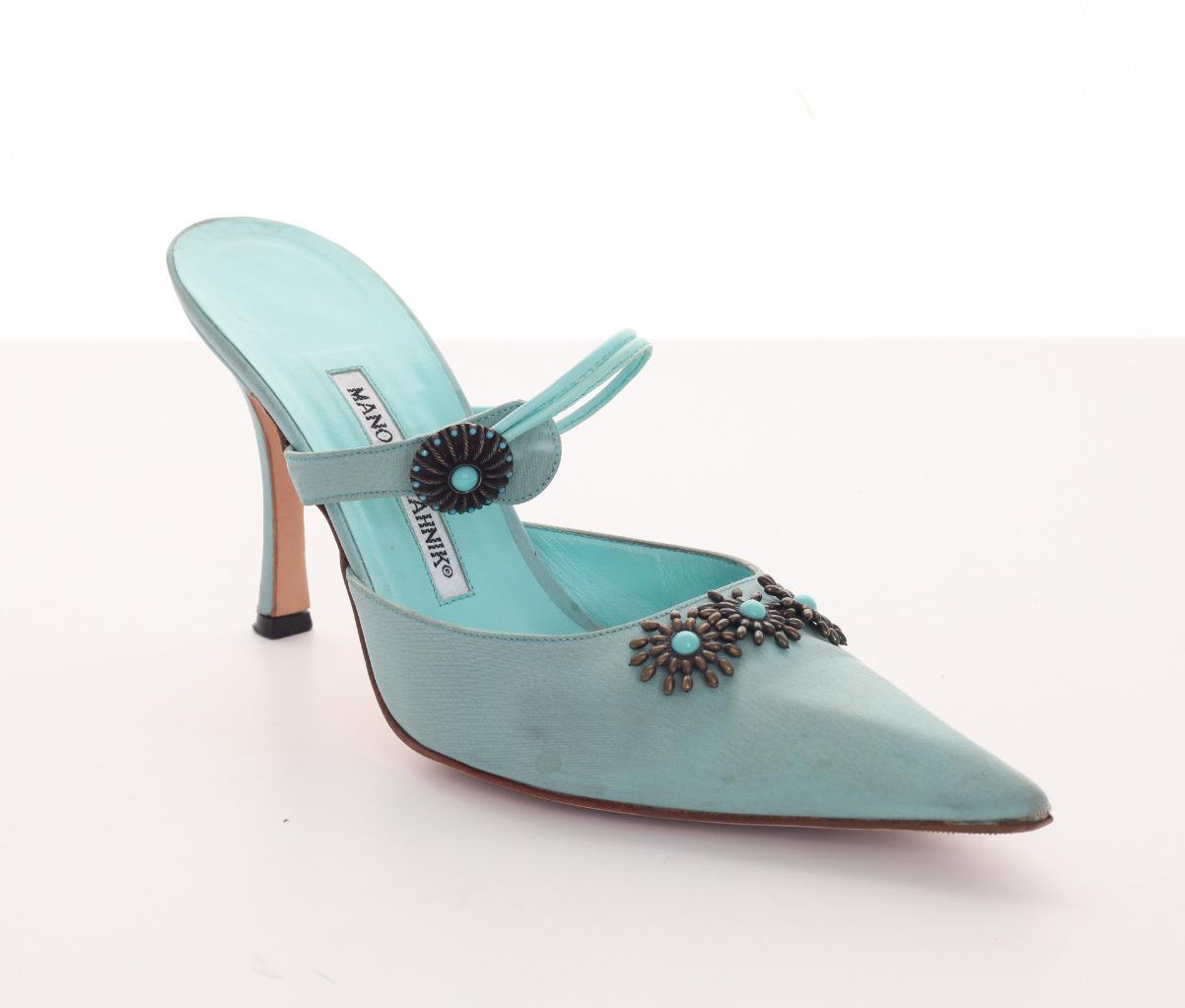 MANOLO MANOLO MANOLO BLAHNIK femmes Seafoam-bleu Embellished Pointed-Toe Mule High-Heels 10-40 bb65c0