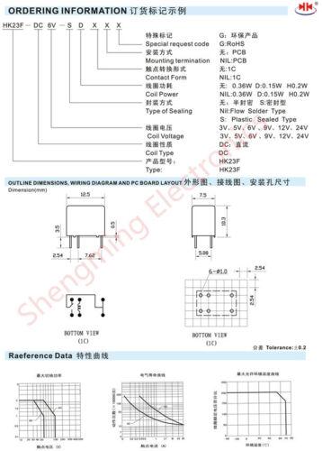 Relé de Señal 10 un HK23F-DC3V-SHG 2A 120VAC//24VDC
