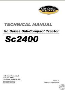 Cub Cadet Yanmar Sc Series Sc2400 Service Repair Manual Ebay