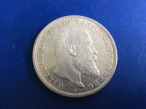 Silber Münze Fünf Mark Wilhelm Ii König Von Württemberg 1908 F
