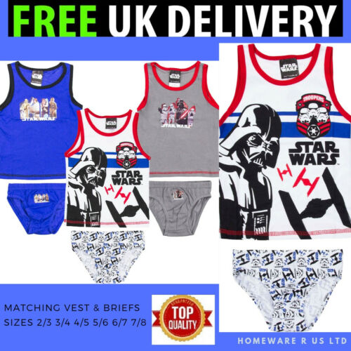 BOYS STAR WARS VEST /& BRIEFS MATCHING SETS BLUE GREY  2 3 4 5 6 8 YEARS TAGS