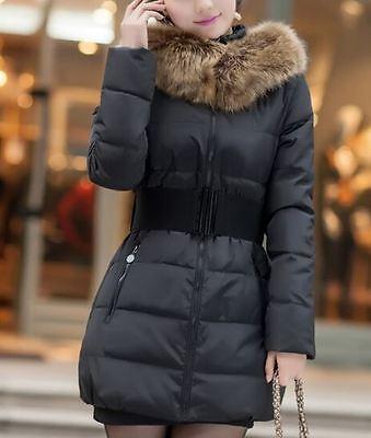 Comodo caldo piumino corto donna sciancrato nero cappuccio cintura moda 1185