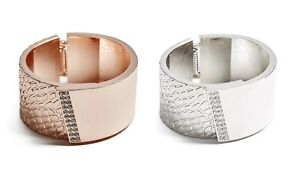 fdc5801317df4 Details about NEW GUESS ROSE GOLD,SILVER TEXTURE,ANIMAL  PRINT,HINGE,CRYSTALS,CUFF,WIDE BANGLE
