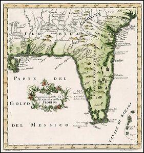 Gulf Coast Map Florida.Details About 1763 Map Florida Gulf Coast Atlas Poster Very Early Gazzetiere Americano 12441