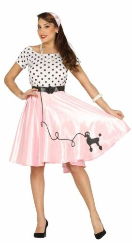 Womens 1950s Pink Poodle Girl Rock /& Roll Fancy Dress Costume Ladies Outfit