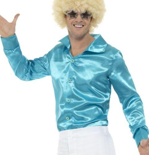 Mens 1970s 70/'s Disco Shiny Shirt Fancy Dress Blue 1960s 60s Top by Smiffys