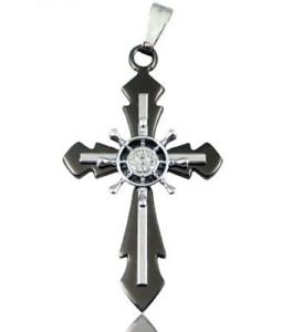 Black-Stainless-Steel-Steampunk-Helm-Cross-Necklace-N78