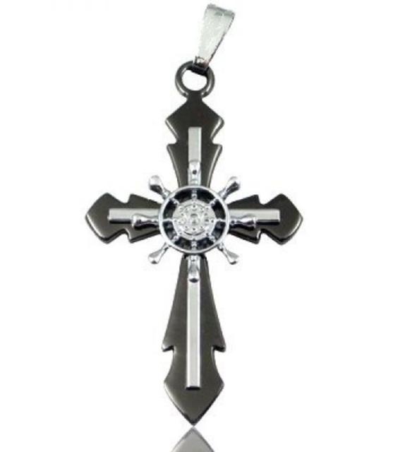 Black Stainless Steel Steampunk Helm Cross Necklace N78
