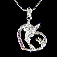 Purple w Swarovski Crystal Tinker Bell Tinkerbell ANGEL dragonfly Heart Necklace
