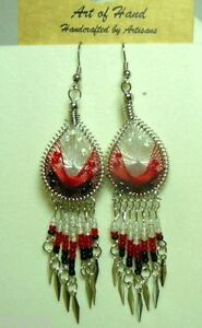 Woven-Dreamcatcher-Earrings-with-Dangle-Many-colors-You-Pick-pink-blue-red
