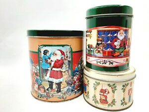 Three-Collectible-Santa-Claus-Christmas-Tins-Holiday-Storage-Containers