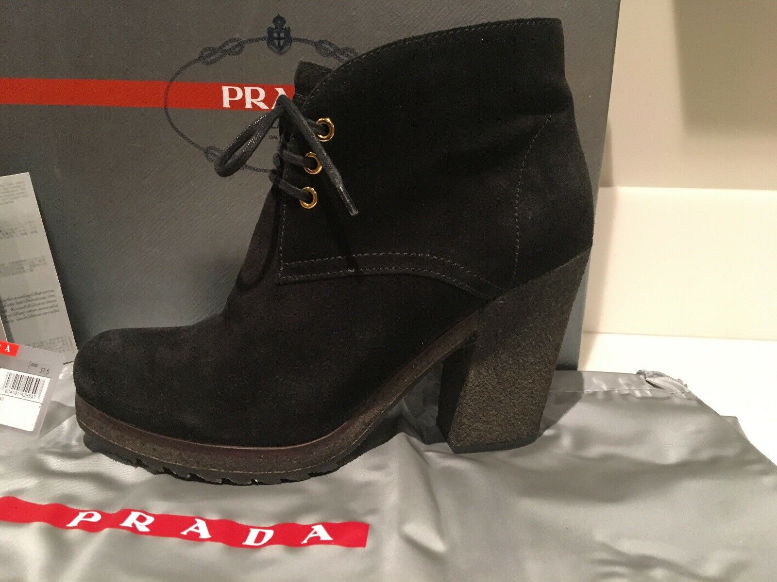 PRADA Black Suede Lace-Ups Heeled ankle boots       SIZE 37 1 2 (US 7 1 2) 401ed1
