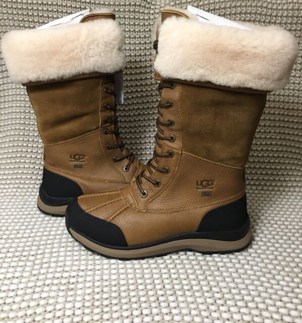 UGG Adirondack III Chestnut Waterproof Leather Tall Snow Boots Size 10 Womens