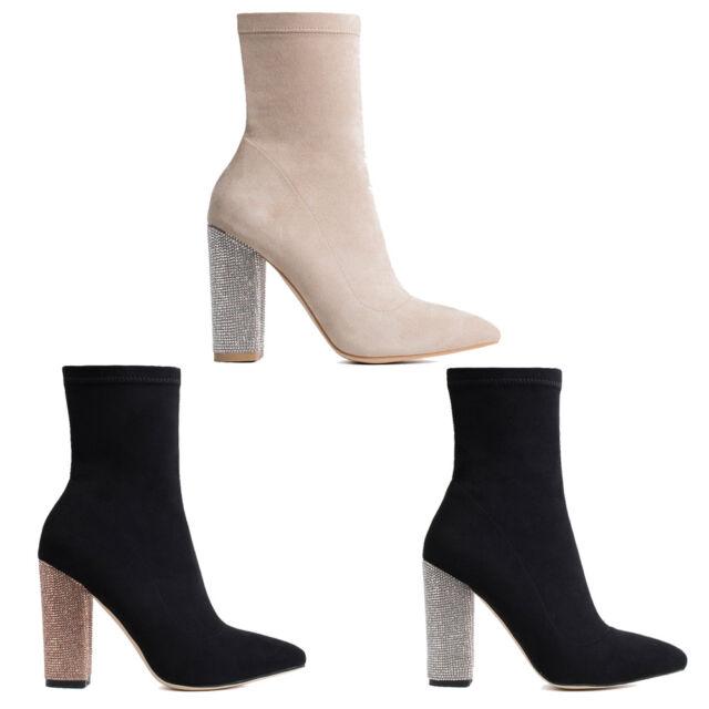 5d3db9c9ccc Womens Ladies Ankle Boot Diamond Heel Side Zip Diamonte Block Heel Shoes  Size