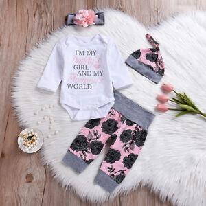 4PCS-Newborn-Infant-Baby-Girl-Romper-Bodysuit-Pants-Leggings-Outfits-Clothes-Set