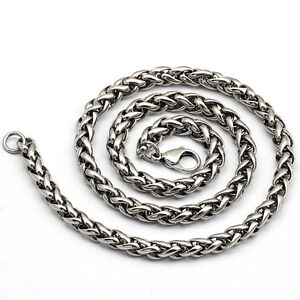 3-4-5-6MM-18-36-034-MENS-Silver-Stainless-Steel-Wheat-Braided-Chain-Necklace
