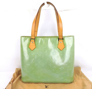 Image Is Loading Authentic Louis Vuitton Houston Vernis Green Patent Leather