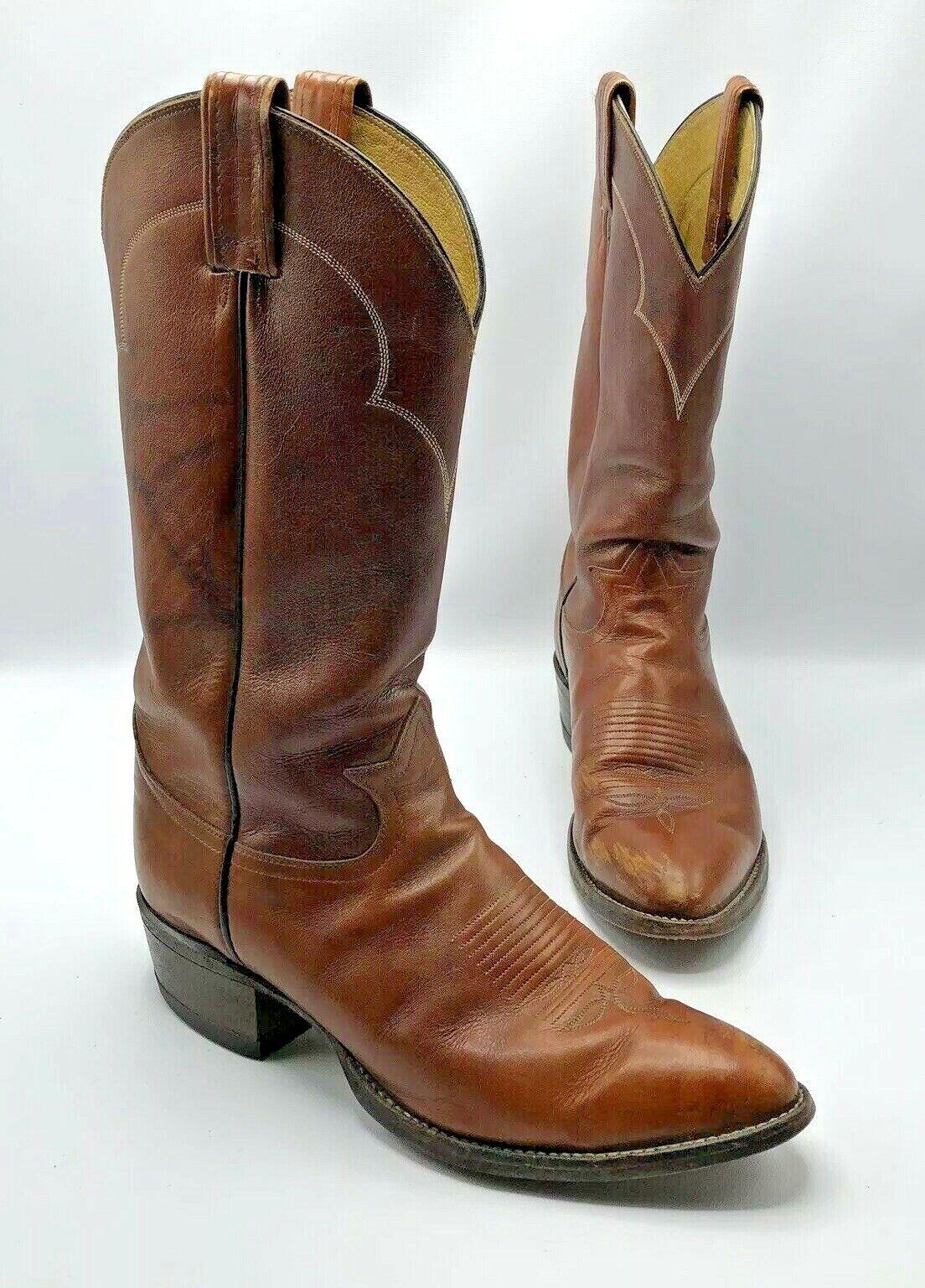 Tony Lama 5084 hombres botas de vaquero occidental de cuero marrón de mármol Zapato D