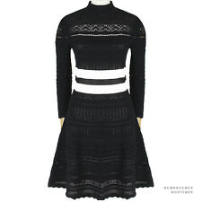 Alexander McQueen Black Knitted Lace White Banded Waist Skater Dress M IT42