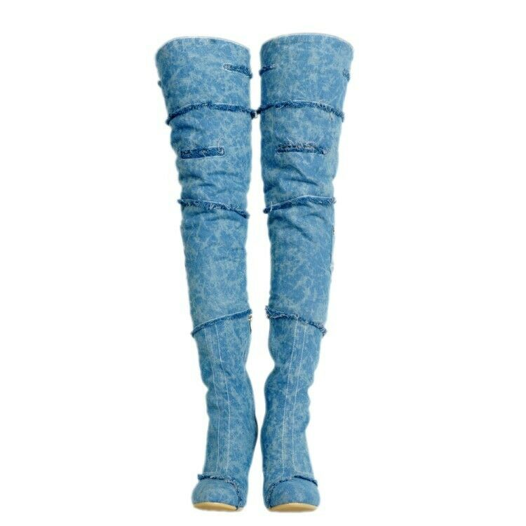 Retro donna Over The Knee stivali Stiletto High Heel Denim Casual avvioies scarpe