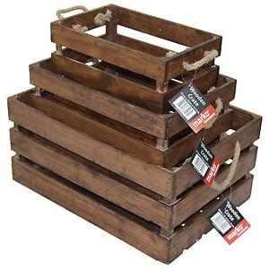Vintage Wooden Storage Crates Slatted Hamper Wine Bottle