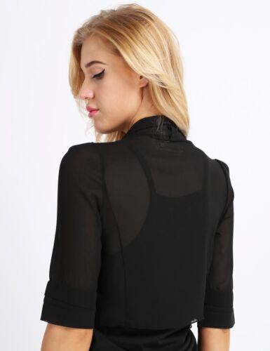 Women Half Sleeve Sheer Top Soft Chiffon Bolero Shrug Open Front Jacket Cardigan