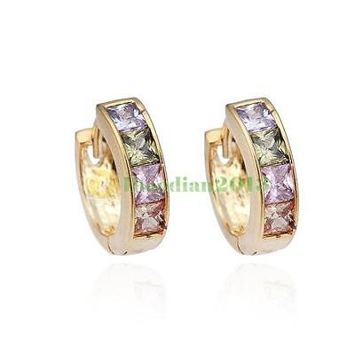 1Pair Fashion Women Lady Girls Elegant Crystal Rhinestone Gold Ear Stud Earrings