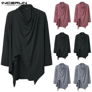Men-039-s-Vintage-Hooded-Cape-Poncho-Long-Sleeve-Hipster-Cloak-Cape-Coat-Outwear-Top