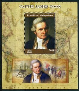 Madagascar 2018 CTO Captain James Cook 1v M/S Exploration Boat Ships Stamps