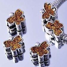 5Pcs White Gold Silver Filled Enamel Charms Beads European DIY Bracelet Lot