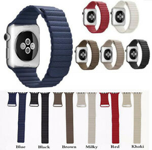 Genuine-Leather-Loop-Magnetic-Loop-Watch-Band-For-Apple-iWatch-4-3-2-1-40mm-44mm