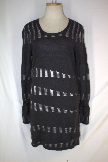 fa7cb0c9bcb GIANNI BINI Sweater Dress LARGE Gray Metallic Silver Wool Blend Cami Lining