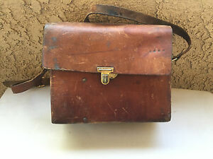 Image Is Loading Vintage Thick Leather Distressed Shooting Bag Skeet Clays