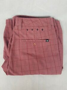 Hurley-Men-039-s-Plaid-Shorts-Red-Size-W32