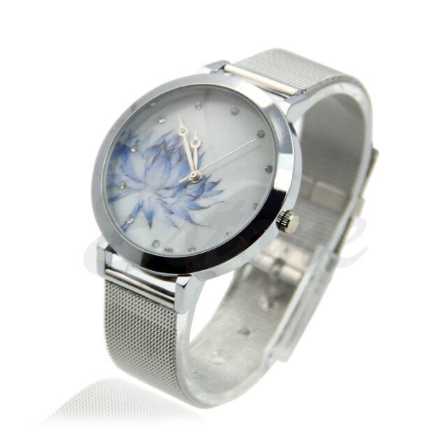 Fashion Women Lady Stainless Steel Mesh Blue Lotus Rhinestone Quartz Wrist Watch