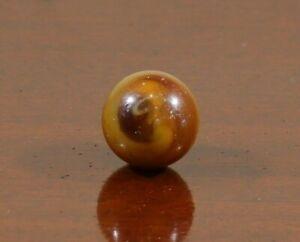 """M.F. Christensen Amber Brown Slag Marble - 0.91"""" - Near Mint"""