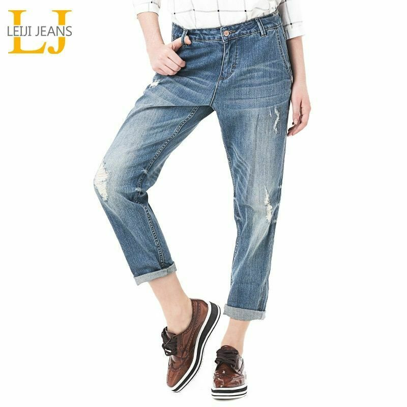 Fashion Ripped Jeans Bleached Mid Waist Ankle Length Vintage Stretch Loose Harem