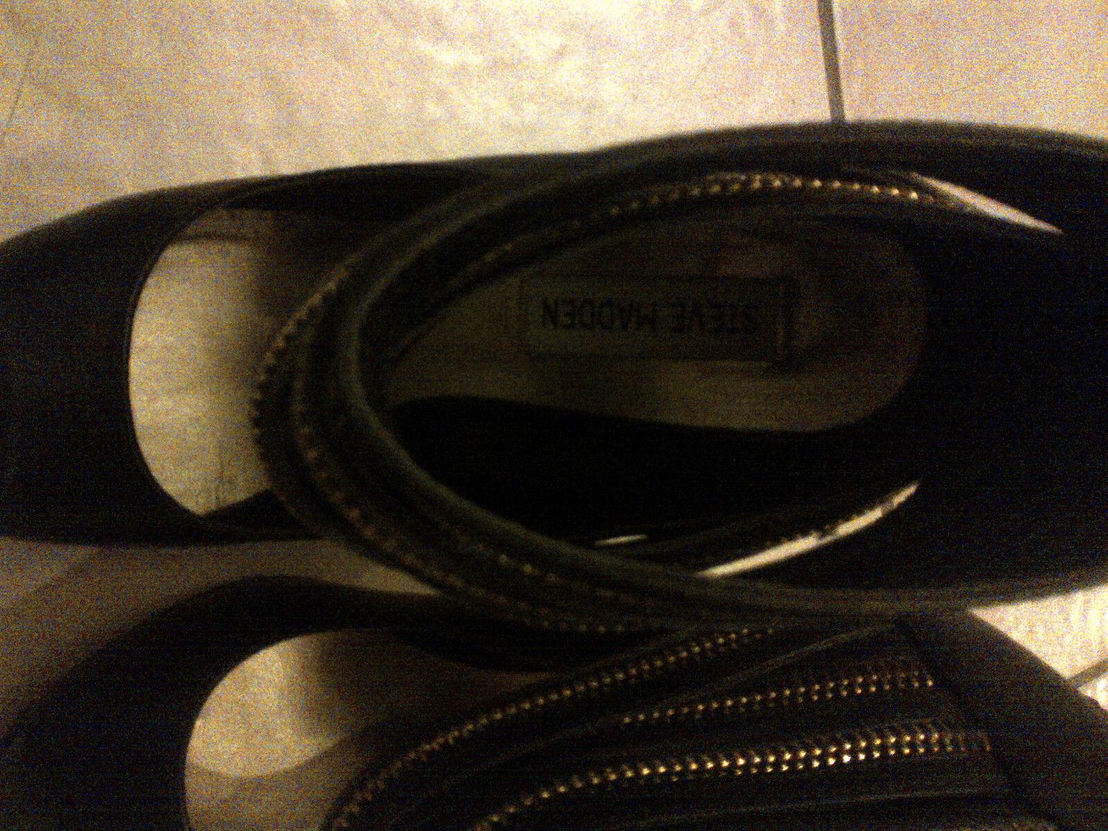 Steve Madden Black Leather shoes Heels Boots Zipper Unique Size Size Size 7 WORE IT ONCE da8c7b