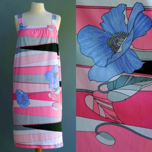 VTG 60s 70s Marble Queen Dress Op Art Mod Oversize