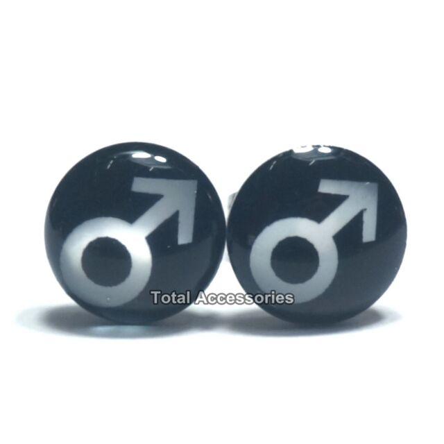Male Logo Stainless Steel Stud Earrings - Mens Womens Fashion - New
