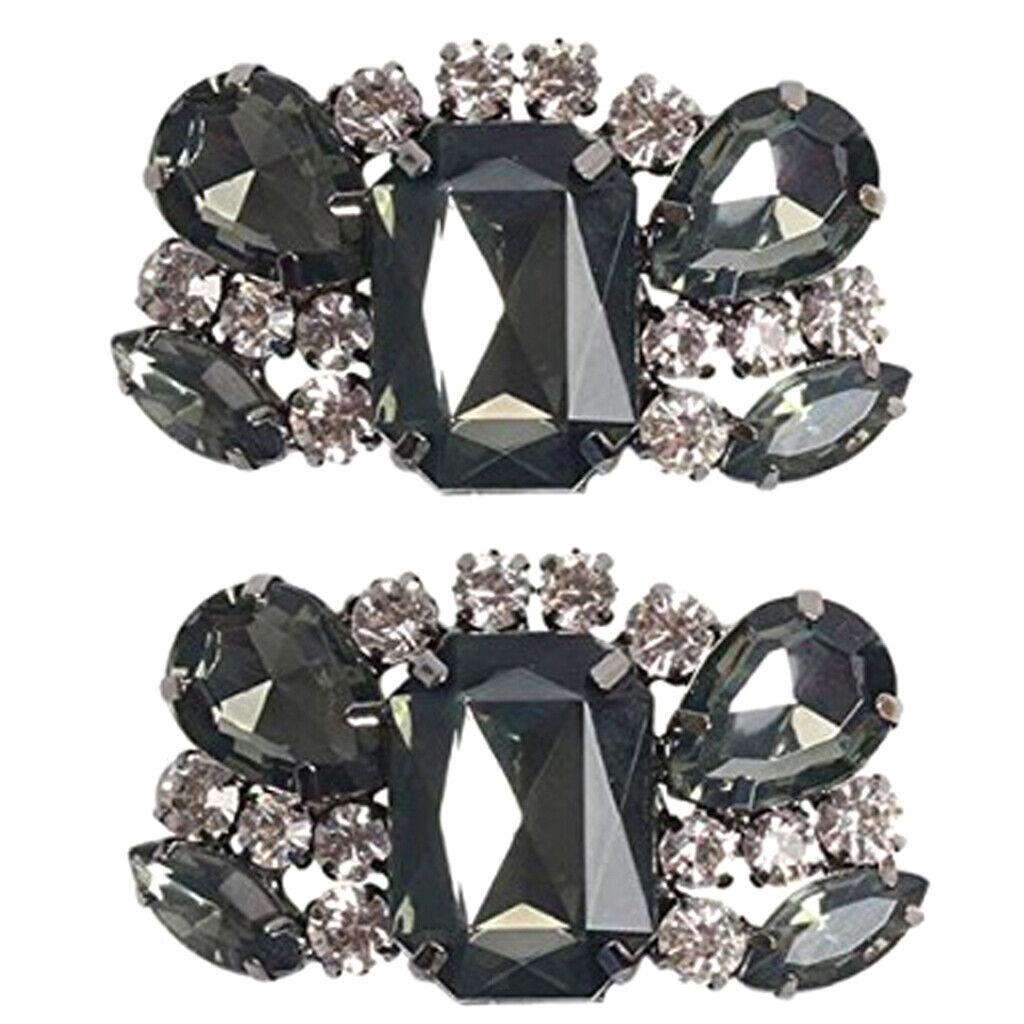 Women Crystal Shoe Clips Removable Rhinestone Shoe Buckles Shoe Accessories