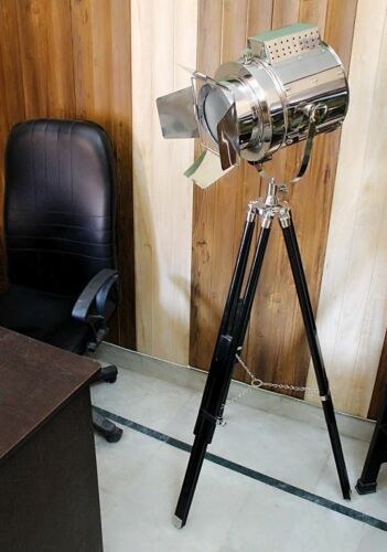 Antique Nautical Industrial Spot Light Floor Lamp Searchlight With Tripod Stand