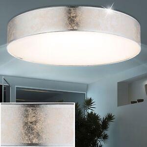 Design-LED-12W-Decken-Lampe-Textil-silber-metallic-Wohn-Ess-Zimmer-Leuchte-rund