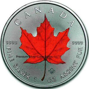 2021 Canada Maple Leaf 4 Seasons Red 1 Ounce Silver - Colorized Series!!