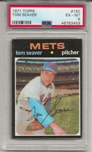 1971 TOPPS #160 TOM SEAVER, PSA 6 EX-MT, HOF, NEW YORK METS, L@@K
