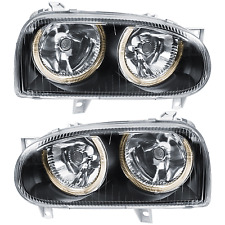 Set Design Scheinwerfer VW Golf III 3 1H Bj. 91-97 klar/schwarz Angel Eyes