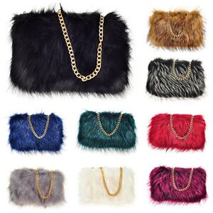 Image Is Loading Las Designer Soft Fluffy Feather Faux Fur Clutch
