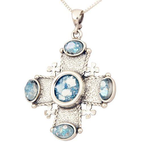 Details about Roman Glass Jewelry 'Jerusalem Cross' Christian Pendant 925  Silver FREE Shipping